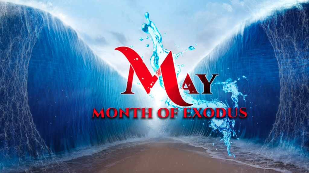 May - Month of Exodus (Image depicting the Red Sea open - two walls of water and a path of dry land in the middle)