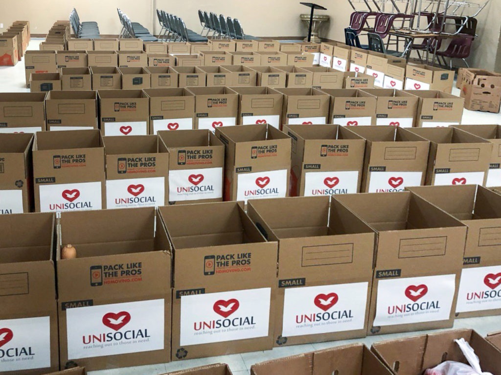 In Florida, Unisocial organized a drive-through, residents could just drive up and volunteers would place the food boxes in the trunk.