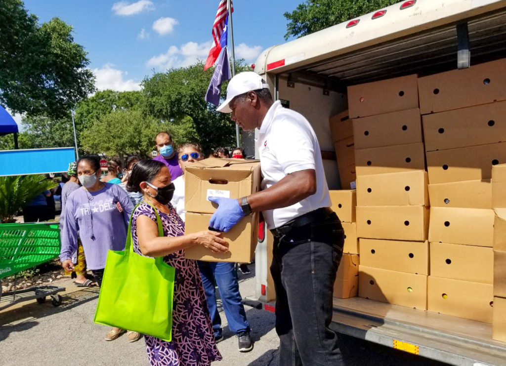 Each family received two boxes of food