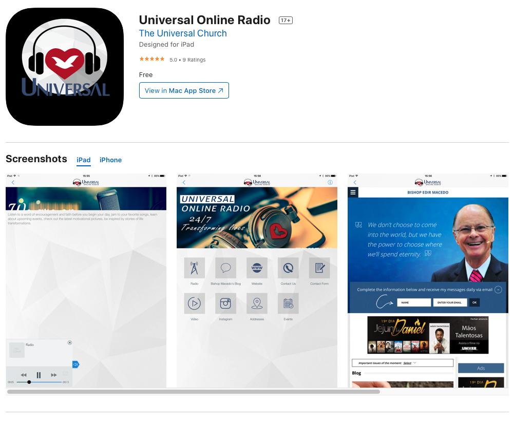 Universal Online Radio Apple Store Link